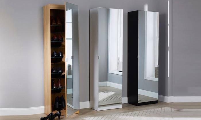 Aimee Mirrored Shoe Cabinet | Groupon