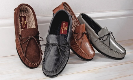 Men's Leather or Suede Moccasin Slippers