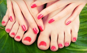 New Image Hair, Skin, Massage and Nails: Pedicure and Shellac Manicure, or Three Shellac Manicures at New Image Hair, Skin, Massage and Nails (Up to 68% Off)