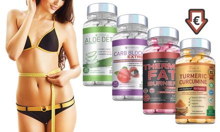 Cure 2 mois pour chacun des 4 compléments, minceur et détox, nettoyage et stabilisateur de poids