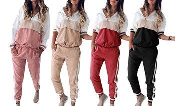 Colour-Block Tracksuit Set