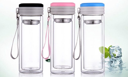 Double-Wall Glass Bottle with Tea Infuser from AED 39 (Up to 71% Off)