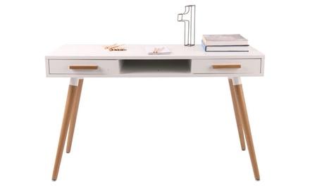 Petit bureau blanc tiroirs et niche de la marque fournier