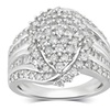 2 CTTW Diamond Marquise Cluster Wedding Ring in Sterling Silver