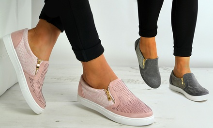 Womens Slip On Studded Flat Trainers