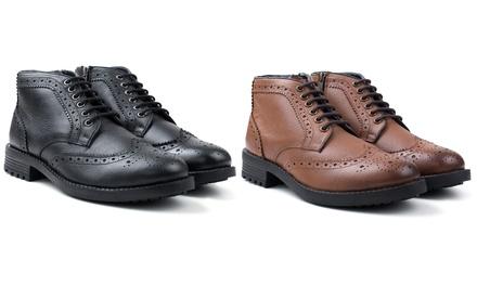 Redfoot Herrenstiefel aus Leder mit rutschhemmenden Sohlen, Reißverschluss und Schnürsenkel in Schwarz oder Hellbraun