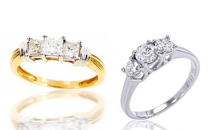 1.50 CTTW Certified Diamond 3-Stone Rings in 14K Gold.