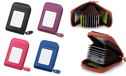 $15 for an AccordionStyle Leather Wallet with 12 Slots in Choice of Colour
