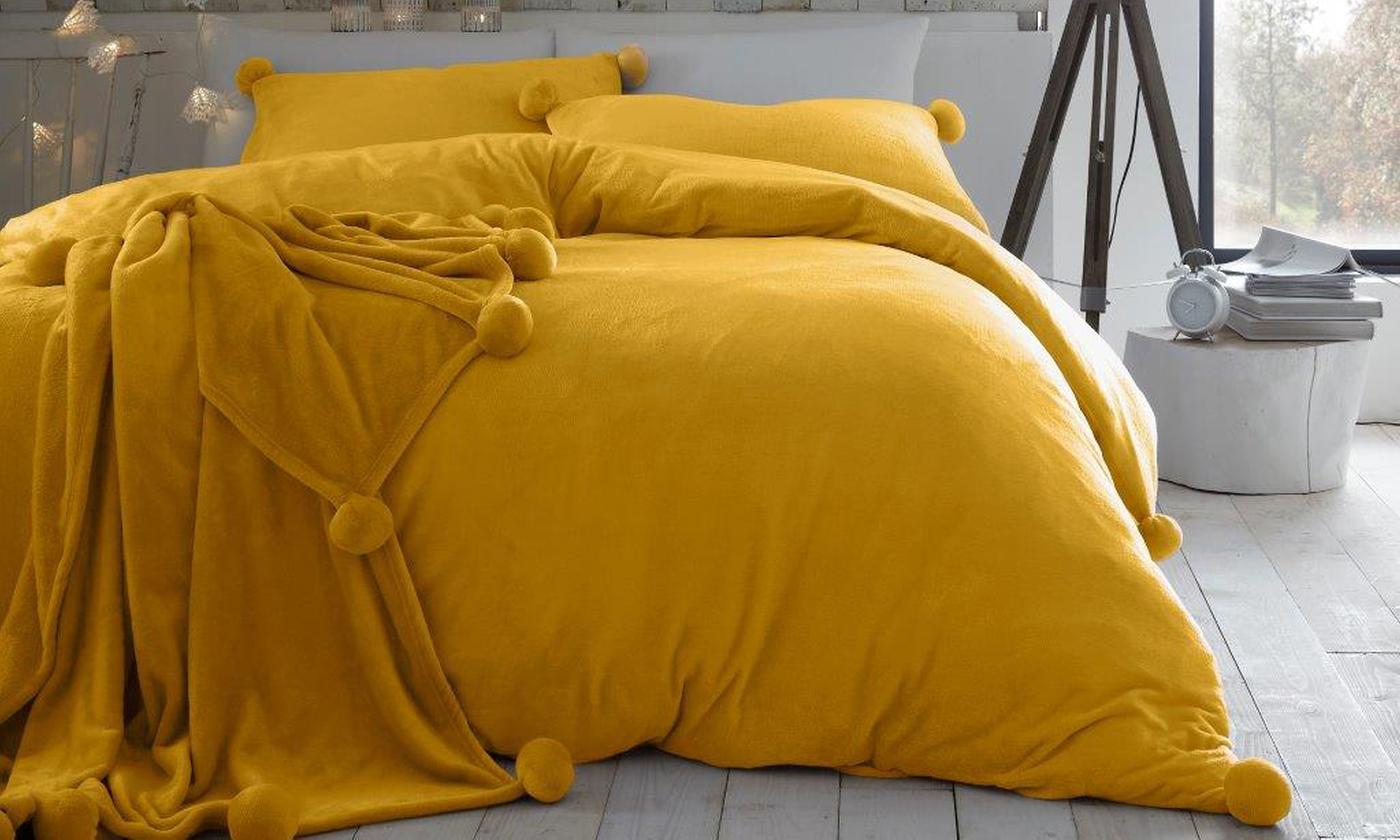 Pom Pom Heather Fleece Duvet Cover Set