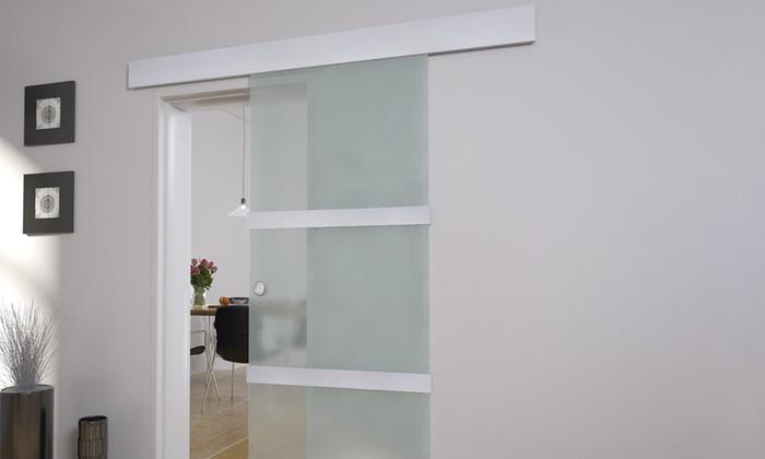 Porta scorrevole in vetro VidaXL con telaio in alluminio e acciaio  inossidabile