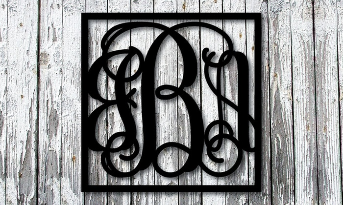 Metal Unlimited: 1 or 2 Square Vine-Style Steel Monogram Signs from Metal Unlimited (Up to 55% Off)