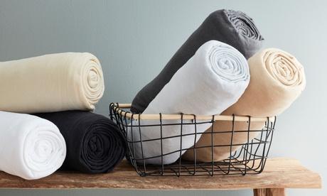 Lot de 2 ou 4 draps housses extensibles en coton et polyester