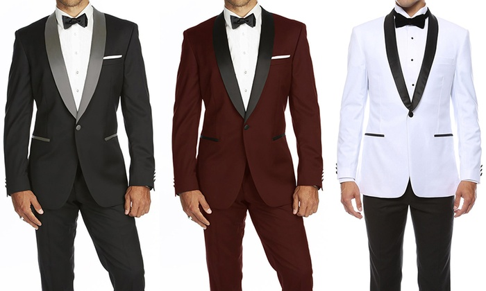 Men's Slim Fit Shawl Lapel Runway Tuxedo