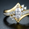 18K Gold Plated Cubic Zirconia Marquise Bridal Ring