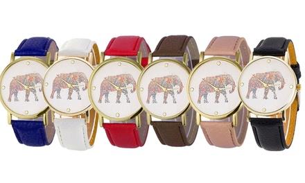 Armbanduhr mit Elefanten Motiv in der Farbe nach Wahl
