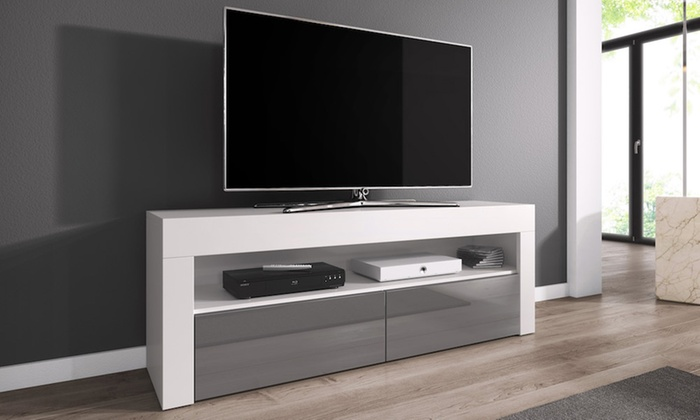 meuble tv 140 cm avec sans led groupon shopping. Black Bedroom Furniture Sets. Home Design Ideas