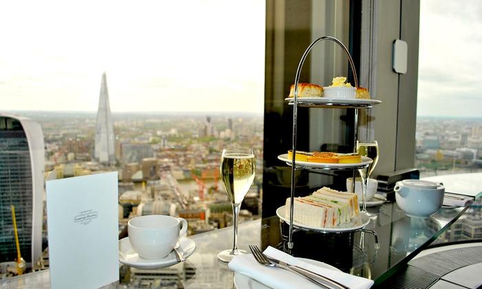 Sky High Champagne Afternoon Tea for Two or Four at Vertigo 42, The City