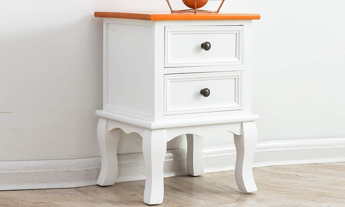 Wooden Bedside Table with Two Drawers