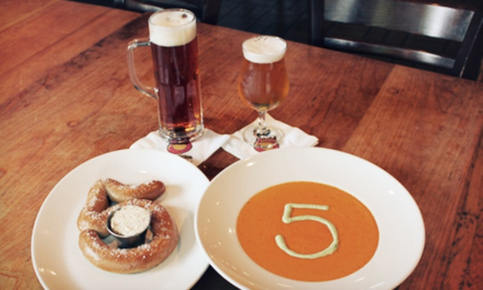 Five Seasons Brewing - Sandy Springs: $12 for Snacks and Hand-Crafted Beer or House Wine for Two at Five Seasons Brewing (Over 55% Off)
