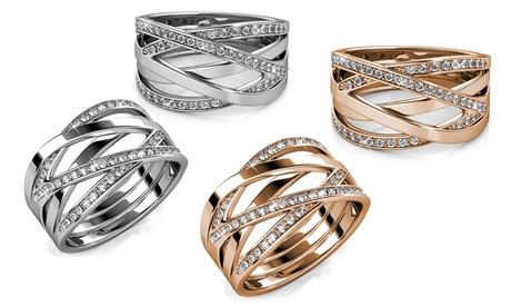 1 o 2 anillos cruzados para mujer con cristales de Swarovski®