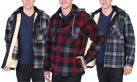 Maxxsel Men's Sherpa Lined Plaid Flannel Hooded Shirt Jacket (S-5XL)
