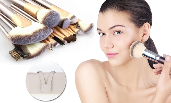 Champagne Gold Makeup Brush Set - 12 ($16), 18 ($20) or 24 Pieces (422)