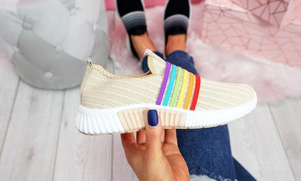Rainbow Knitted Trainers