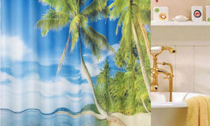 Cebu Tropical Fabric Shower Curtain | Groupon