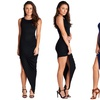 Women's Asymmetric Ruched Slit Maxi Dress