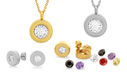 Stainless Steel Pendant or Studs with Interchangeable Cubic Zirconia Stones