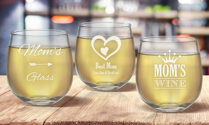 One Or Two Custom Etched Stemless Wine Glasses For Mom From Fabness Up To 68 Off