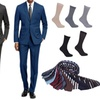 Braveman Men's Slim Fit Suits with Free Tie and Socks (2-Piece)