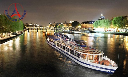 Dîner croisière avec demi bouteille de champagne à 17h45 ou 22h pour 2 personnes à 79,90 € avec Paris en Scène