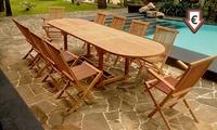 Salon de jardin en Teck brut avec table et chaises pliantes, modèle au choix
