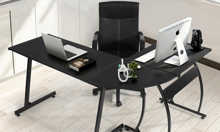 jusqu 39 27 bureau d 39 angle avec chaise groupon. Black Bedroom Furniture Sets. Home Design Ideas
