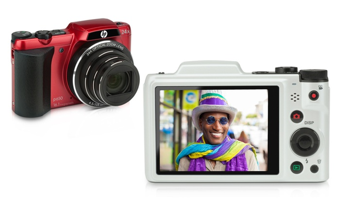 HP p650 16.1MP Digital Camera: HP p650 16.1MP Digital Camera with 24x Optical Zoom and 25mm Wide-Angle Lens in Red or White. Free Returns.