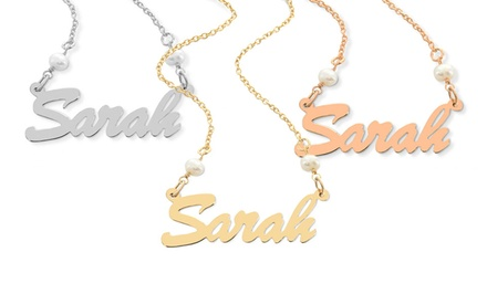 Rose Gold or Gold Over Sterling Silver or Sterling Silver Name Necklace with Pearls Available from $29—$34