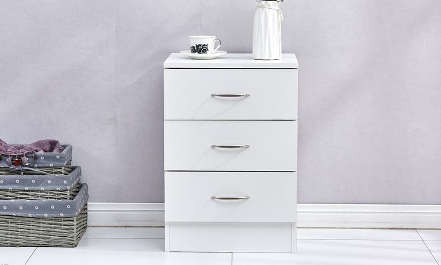 Yakoe Bedside Table with Three Drawers or Five-Drawer Chest