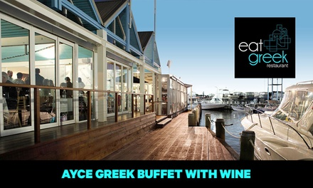 AllYouCanEat Greek Buffet Dinner with Wine for One $40, Two $80 or Four People $160 at Eat Greek Restaurant