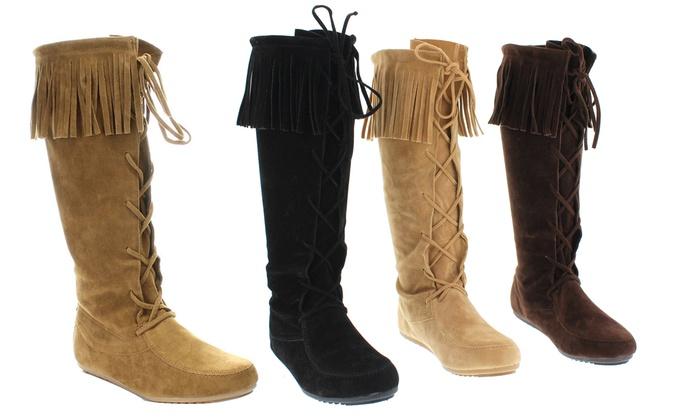 Mata Women's Fringe Trim Lace Up Faux Suede Boots