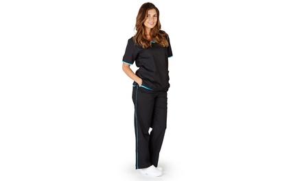Natural Uniforms Women's Contrast-Trim Scrub Set (2-Piece) ) (Size XS)