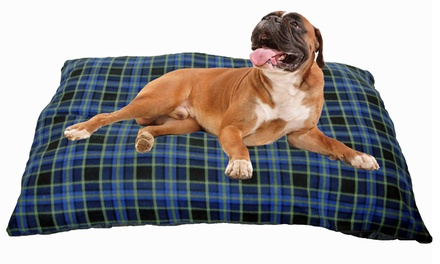 Jumbo Blue Check Cushion Pet Bed