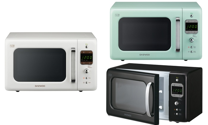 Groupon Goods Global Gmbh Daewoo 800w Retro Microwave With Free Delivery