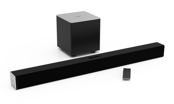 vizio 2 1 channel bluetooth sound bar with subwoofer mfr refurb groupon. Black Bedroom Furniture Sets. Home Design Ideas