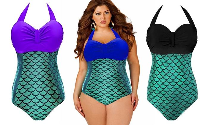 0a85e83d38 Plus-Size Mermaid Swimsuit | Groupon Goods