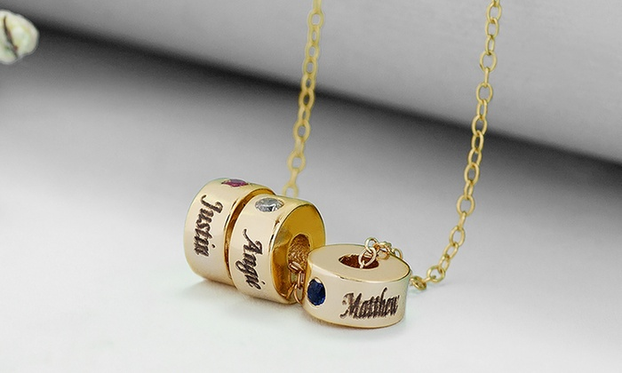 MonogramHub: Stackable Birthstone Eternity Charm Necklace from MonogramHub