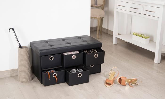 pouf pliant de rangement avec tiroirs en simili cuir groupon shopping. Black Bedroom Furniture Sets. Home Design Ideas