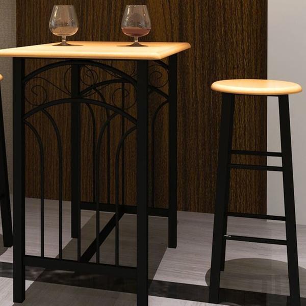 Lot d\'une table haute de bar avec 2 tabourets Phoenix