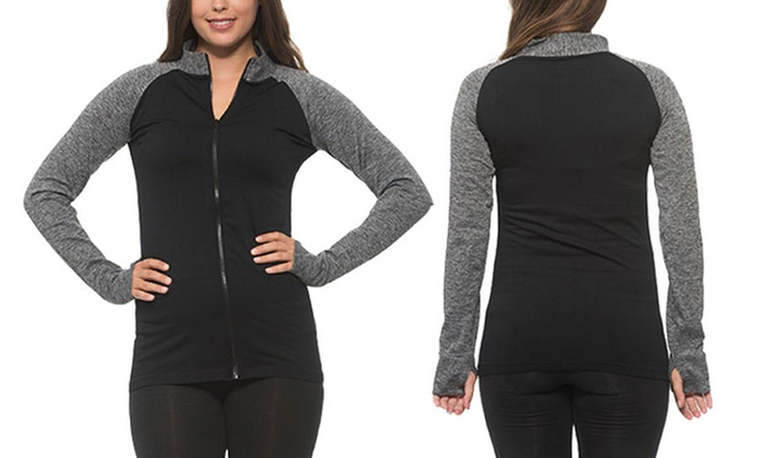 Women's Active Track Jacket with Thumb Holes