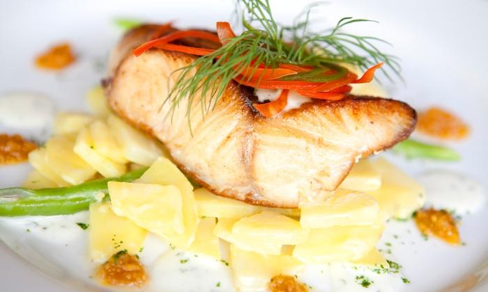 Seeterrassen Dessau - Dessau Roßlau: 2-Gänge Fisch-Menü inkl. Begrüßungssekt für 2 oder 4 Personen im Restaurant Seeterrassen Dessau (bis zu 42% sparen*)